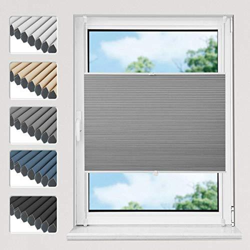 Atlaz Wabenplissee Verdunklung Thermo Zweifarbig 90x200cm Waben Plissee ohne Bohren mit Klemmträger für Fenster und Tür Sichtschutz und Sonnenschutz Weiß-Grau