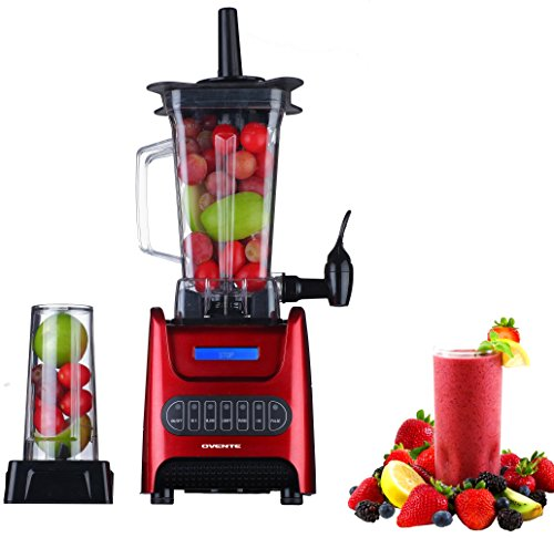 Ovente Kitchen Countertop Blender with Dispenser Stainless Steel Blade & 13.5 Ounce BPA-Free Portable Easy Clean Jar, 1000 Watt Base Powered Electric Mixer for Smoothie Protein Shakes, Red BLH1000R