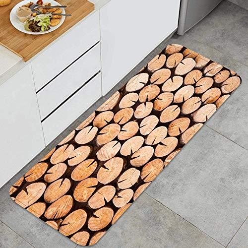ZUL Juegos de alfombras de Cocina Multiusos,Estantes de Madera Superiores vacíos patrón Verde,Alfombrillas cómodas para Uso en el Piso de Cocina súper absorbentes y Antideslizantes