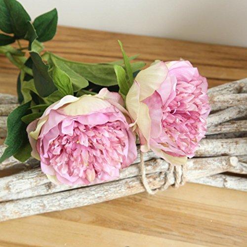 Trada Blumen-Köpfe Künstlich Blumen, Kunstseide gefälschte Blumen Pfingstrose Blumen Hochzeitsstrauß Braut Hortensien Dekor Plastikblumen Deko Pflanzen für DIY Hochzeit Party (Lila) - 4