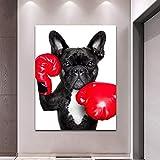 KWzEQ Perro de Boxeo con Guantes póster Animal decoración de la Pared Pintura para decoración del hogar Pintura,Pintura sin Marco,75x112cm