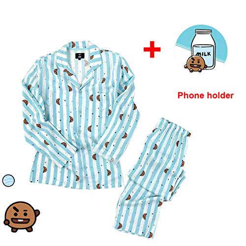 GFEIW BT21 Pajamas für Frauen, BTS Bangtan Boys Sleepwear CHIMMY Cooky KOYA MANG RJ SHOOKY TATA Same Harajuku Long Sleeve Shirt Nighty Bedgown,RJ,M