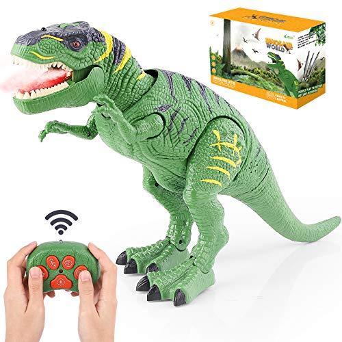 BAZOVE Leuchtend Ferngesteuert Dinosaurier Spielzeug, RC Dinosaurier Elektrospielzeug mit LED Leuchten Augen Gehen und Brüllen Projektionssprühfunktion Realistisches T-Rex Dinosaurierspielzeug,...
