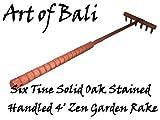 Art of Bali Zen Garden Rake 6 Tine 48' 6 Tine Handled and Stained Solid Oak Zen Garden Rake