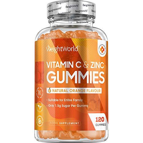 Vitamina C y Zinc 120 Gominolas Vegano, Suministro para 2 meses - Gummies de Vitamina C Sabor Naranja, para Adultos, Para Piel, Sistema Inmune, Cansancio y Fatiga, Suplemento de Vitamina C Natural