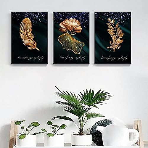 HUANGXLL Moderne Einfache Pflanze Leinwand Malerei Kreative und Schöne Goldene Federblatt Poster Wohnzimmer Wandkunst Dekoration Bilder-40x50cmx3Pcs-Kein Rahmen