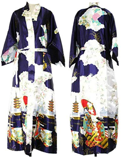who-care Marineblauer chinesischer Damen-Bademantel aus Seide, Kimono, Nachthemd,...