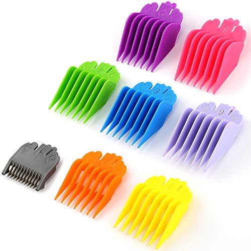 LUTER 8 PCS Hair Clipper Guards, protections de remplacement colorées pour la plupart des tondeuses à cheveux/tondeuses, 8 longueurs de coupe de 1/8 po à 1 po pour les stylistes et les barbiers