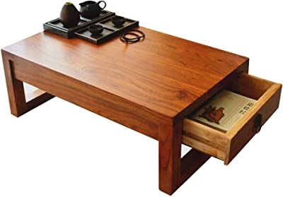 Coffee Tables Household Drawer Table Zen Tea Ceremony Table Balcony Bay Window Table Solid Wood Coffee Table Tatami Tea Table (Color : Brown, Size : 70 * 45 * 30cm)