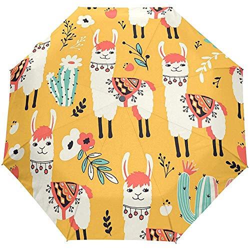 Schattige Camel Llama Geel Dier Auto Open Paraplu Zon Regen Paraplu Anti UV Vouwen Compact Automatische Paraplu