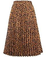 CHARTOU Womens Chic Elastic High Waisted A Line Leopard Print Pleated Shirring Midi-Long Skirt (Brown, Medium)