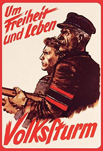 Schatzmix 20x30 cm Volkssturm Weltkrieg um Freiheit und Leben Soldaten Wehrmacht Metall Schild Blechschild, Blech