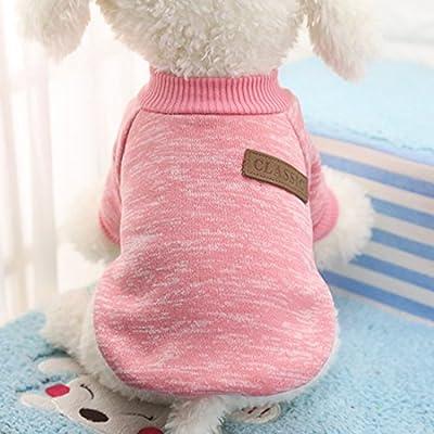 Idepet Pet Cat Dog Sweater,Warm Dog Jumpers Cat Clothes,Fleece Pet Coat for Puppy Small Medium Large Dog,Pink & Grey (XL, Pink)