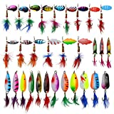 Fishing Spoon Lures Kit – 30pcs Colorful Casting Spinner Baits Assorted Fish Hooks Metal Tackle Lures for Trout Bass Pike Salmon Walleye Fishing