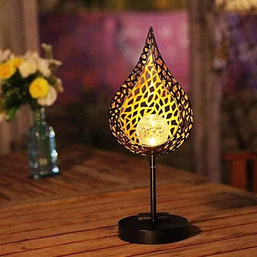 Solar Metall Tischlampe,SUAVER Wasserdichte LED Solarlaterne Außen Deko Solarlampen Flammenform Crackle Glass Globe Vintage Nachtlicht für Pathway Veranda Weihnachten Terrasse (Type-2)