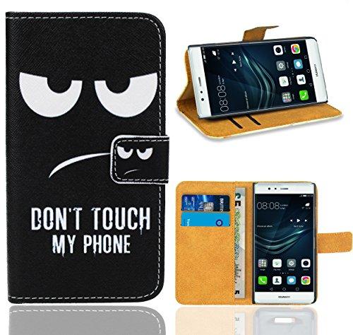 FoneExpert® Huawei P9 Handy Tasche, Wallet Case Flip Cover Hüllen Etui Ledertasche Lederhülle Premium Schutzhülle für Huawei P9