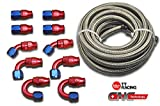 AN-10 Stainless Steel PTFE (Teflon) Fuel Gas Ethanol E85 Oil Line Hose 20FT w/Fitting Hose End Swivel Kit PTFEAN10_KIT_DA
