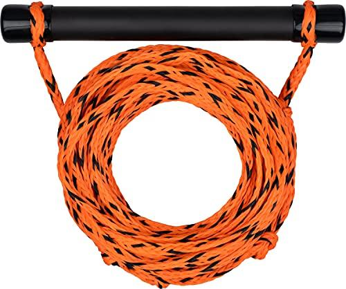 MESLE Wasserski & Wakeboard Leine Set, schwimmfähig, Soft-Griff Hantel, Länge 18,3 m, schwimmend, Zug-Seil Wassersport Schleppleine, inkl Rope Keeper, Farbe:orange