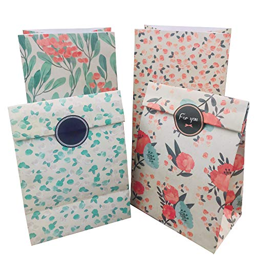 Floral Paper Gift Bags 12pcs Party Favor Bags Vintage CandyTreat Bags with Thank You Stickers