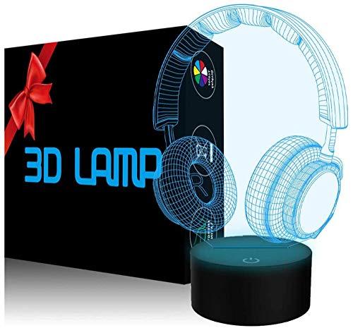 Luz nocturna LED 3D, lámpara de ilusión óptica para auriculares, 16 colores, control táctil para decoración del hogar, regalo de cumpleaños de Navidad