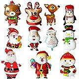 LABOTA Globos de Navidad de Papá Noel, muñeco de nieve, reno, alce globo de helio para Navidad, Año Nuevo, fiesta, suministros de decoración
