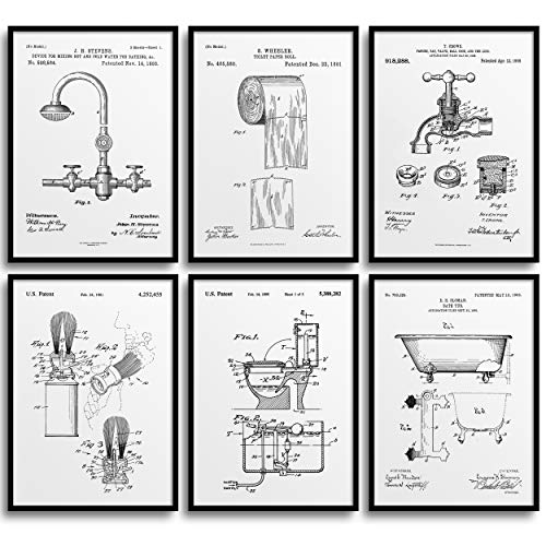 MONOKO® Póster para cuarto de baño con imágenes – elegante murales de baño – WC – 6 unidades sin marco (juego de inodoro, patente, blanco, 6 x A4 (21 x 29,7 cm)