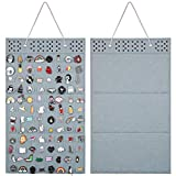 AROUY Wall Hanging Brooch Pin Display Organizer - Enamel Pin Display and Brooch Collection Storage Holder for Women or Men, up to 96 Pins (Organizer Only) (Gray)