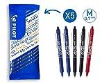 PILOT FriXion Clicker, radierbarer Tintenroller, 5er Set (Blau, Schwarz, Rot)