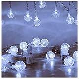 Eruibos Cadena de luces LED, 8 m, 60 ledes, bolas de cristal, 8 modos, mando a distancia, IP65, decoración exterior para dormitorio, patio, cafetería, jardín, fiesta, Navidad, color blanco