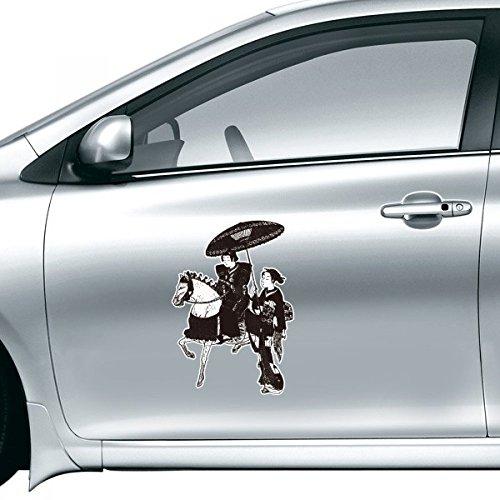 DIYthinker Zwarte Kimono Vrouwen Rijden Paard Paraplu Lijn Tekening Schets Japanse Stijl Kunst Illustratie Auto Sticker Op Auto Styling Sticker Motorfiets Stickers Voor Auto Accessoires