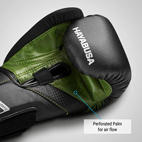 Hayabusa | T3 Boxing Gloves | Men and Women | Black/Green, 16oz