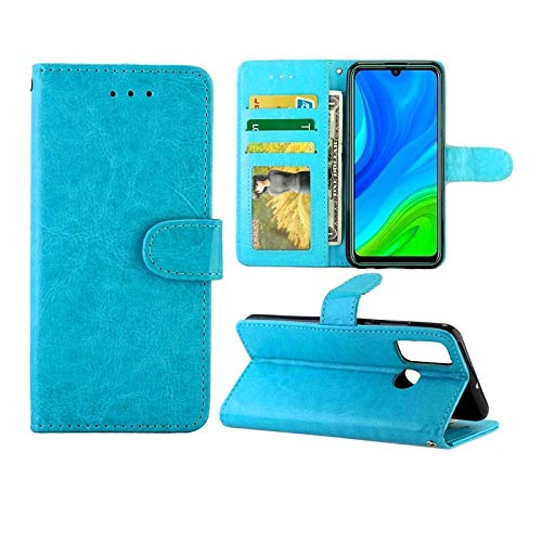 Huawei Cases for Huawei P Smart(2020) Crazy Horse Texture Leather Horizontal Flip Protective Case with Holder & Card Slots & Wallet & Photo Frame Huawei Cases (Color : Baby Blue)
