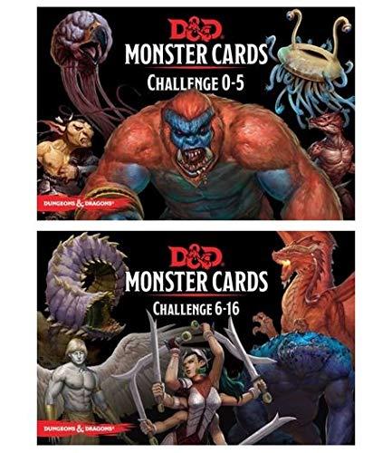 D&D: Monster Cards 5e Bundle Including Monster Cards - Challenge 0-5 Deck and Challenge 6- 16 Deck