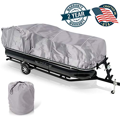 "Universal Boat Adjustable Storage Cover - 17'-20'L to 96"" Pontoon Boats Protection Custom Heavy Duty Waterproof Mildew Weather Resistant Polyester Fabric, Snap Strap, Elastic Cord, Bag - Pyle PCVHP440"