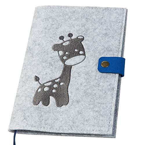 luxdag U-Heft Hülle mit Druckknopf aus Filz (Farbe & Stickerei wählbar) - Hülle für Kinderuntersuchungsheft & Impfpass - Organizer - Geschenk für werdende Mütter & Baby