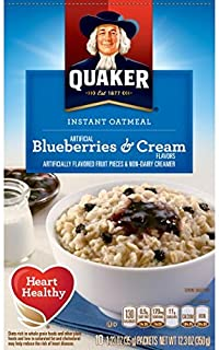 Quaker Instant Oatmeal Breakfast Cereal, Blueberries and Cream, 10.5 Ounce (Pack of 2)