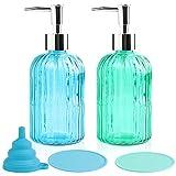 Baffsan 5 unidades de dispensador de jabón líquido de lavado rellenable con bomba de revestimiento inoxidable,botellas para baño con 2 alfombrillas antideslizantes y 1 embudo de silicona, azul y verde