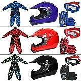 Leopard LEO-X15 Rojo Casco de Motocross para Niños + Gafas + Guantes + Camo Traje de Motocross para Niños, Traje S (5-6 Años), Rojo - Casco&Guantes L