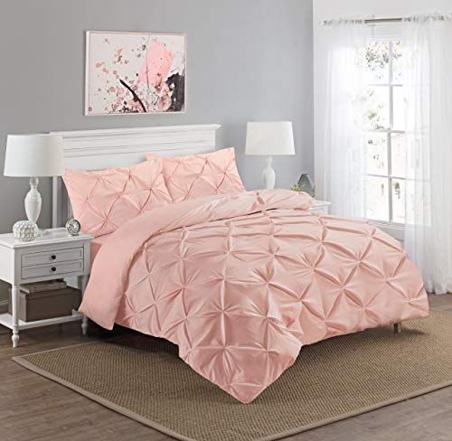 Great Knot Luxury Diamond Pinch Pleated Pintuck Duvet Cover Set king With Pillow Cases 100% Percale Egyptian Cotton Bedding Quilt Sets Single Double King Super King Sizes (Soft Pink, King)