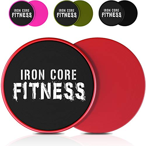 2 x Dual Sided Gliding Discs Core Sliders by Iron Core Fitness | Ultimate Core Trainer | Gym, Home Abdominal & Total Body Workout Equipment | for use on All Surfaces