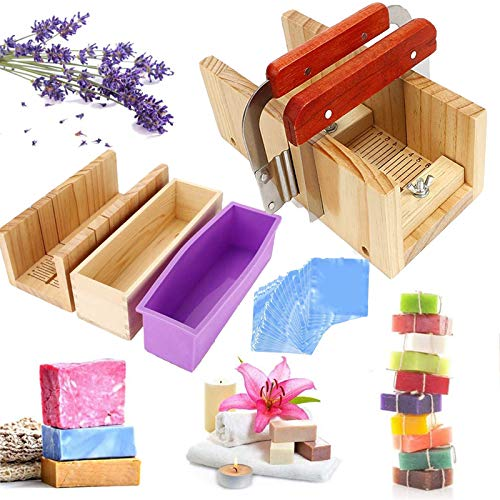 JasCherry 4 Stück Pinie Holz Verstellbar Seifen Silikonform Spree Set - Handgefertigt Holz DIY Seifenschneider Werkzeug Kit Einstellbare Box + 2 Edelstahl Schnittmesser + 100 Seifensäcke #2
