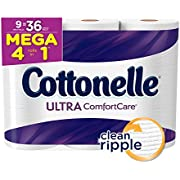 Cottonelle Mega Roll (Pack of 9 Rolls), Toilet Paper Ultra ComfortCare Bath Tissue, Ultra Soft Toilet Paper Rolls with Clean Ripple Texture, Sewer and Septic Safe