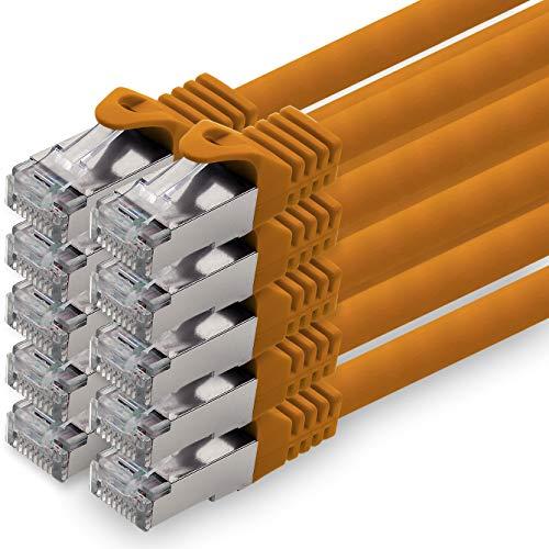 0,25m - orange - 10 Stück CAT.7 Netzwerkkabel Patchkabel SFTP PIMF LSZH Gigabit LAN Kabel 10Gb s cat7 Rohkabel mitRJ45 Stecker Cat6a kompatibel zu CAT5 CAT6 cat7 cat8