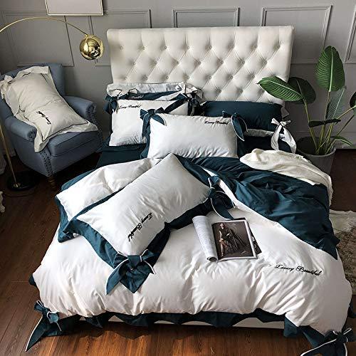 QXbecky Amazon Choice Bettwäsche leichte Luxusstickerei 4er Set 60 langstapelige Baumwollbettlaken Bettbezug Bogen Doppelkönig 245x270cm grün weiß 2,0m Bettwäsche 4tlg