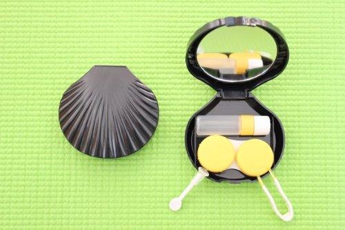 Kontaktlinsenbehälter Aufbewahrungsbehälter Etui Set Spiegel Schneckengehäuse Schwarz NEU
