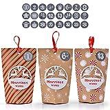 Ulikey Calendario Adviento, 24 Calendario de Adviento 1-24 Adhesivos Digitales de Adviento, Bolsa de Regalo Navidad Decoración Boda, cumpleaños