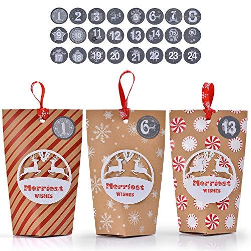 Ulikey Calendario Avvento, 24 Scatole Regalo di Natale per Il Calendario dell'Avvento con 1-24 Adesivi numerici, Calendario dell'Avvento Sacchetto Regalo di Natale