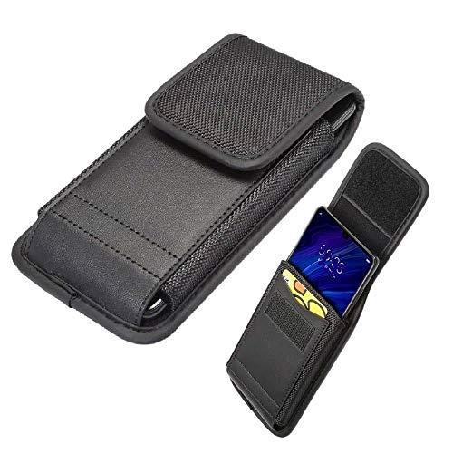 DFV mobile - Belt Case Cover with Card Holder Design in Leather and Nylon Vertical for Lenovo K5 play - Black