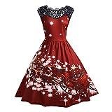 DEELIN Mode Féminine élégante Vintage Col Rond sans Manches en Dentelle Patchwork Noël Imprimé Robe de Soirée de Noël (Large, Vin)