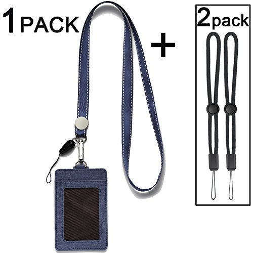 ID Badge Holders with Neck Lanyards,2-Sided Vertical PU Leather ID Card Badge Holder with 1 ID Window and 2 Card Slot and 1 Piece Polyester Detachable Neck Lanyard/Strap - (1PACK-Deep Blue)